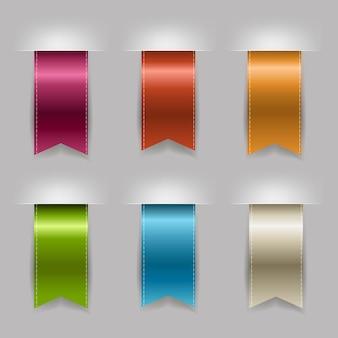 Realistic ribbon set, isolated on grey background,