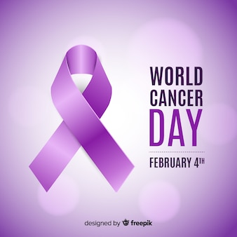 Realistic ribbon world cancer day background