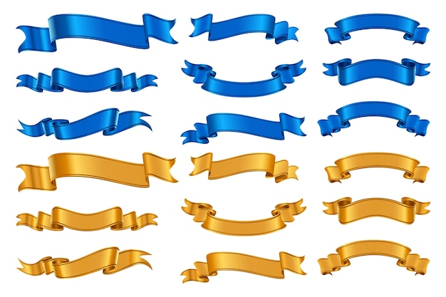 リアルなリボンセット。カラフルなクリスマスの誕生日のお祝いのリボンをさまざまな形で振って描かれたリアリズムスタイルのコレクション。装飾的な青黄色のテープまたはグラフィックの3d賞のバナーのイラスト。