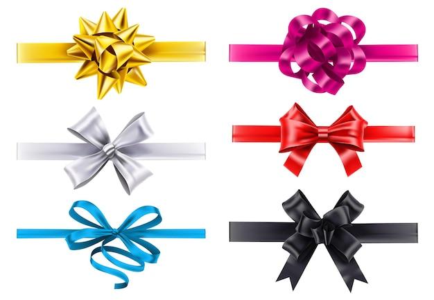 リボン付きのリアルなリボン。ベクトルの弓の装飾、クリスマスのイラストのサテンの形で作られた誕生日プレゼントの結び目