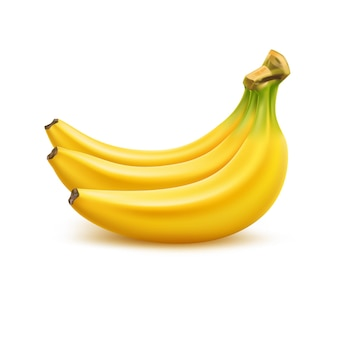 リアルな熟したバナナの房新鮮な黄色の果実