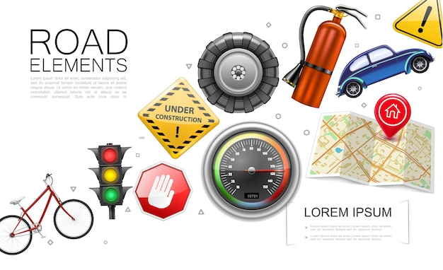 Realistic road elements collection with bicycle traffic light speedometer map pointer tire car fire extinguisher under construction and warning signs isolated  illustration