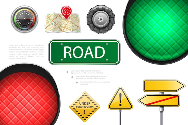 Реалистичные элементы дороги красочная композиция со светофором вывески спидометра указатели карты автомобильное колесо в стадии строительства и предупреждающие знаки иллюстрации