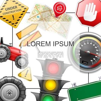 Concetto realistico degli elementi stradali con la struttura per la strada del pneumatico del semaforo del trattore del tachimetro della mappa del testo e l'illustrazione dei segni in costruzione
