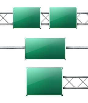 Realistic road highway green signs set
