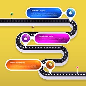 現実的なロードマップのインフォグラフィックテンプレート