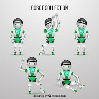 Personaggio robot realistico con collezione di pose diverse