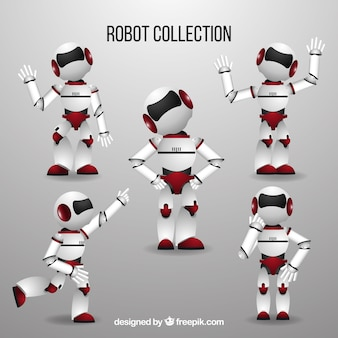 Realistic robot character with different poses collection