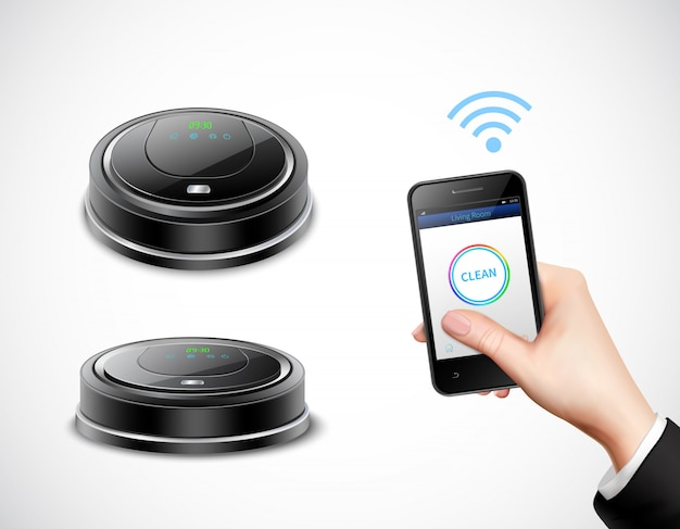 Realistic robotic vacuum cleaner with wifi control by smartphone