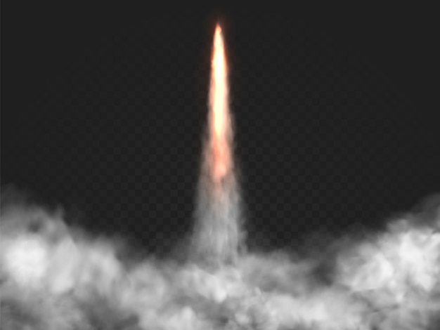 Realistic rocket launch trail with vector smoke. shuttle fire, cloud of dust. spaceship take off effect on transparent background.