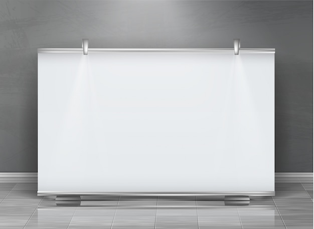 Realistic roll up banner, horizontal stand, blank billboard for exhibition
