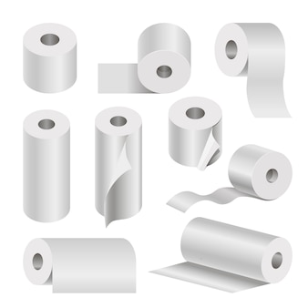 Realistic rolled toilet and towel paper poster on white.