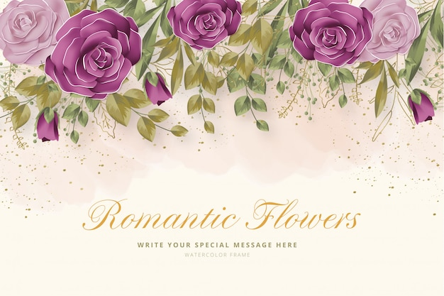 Realistic romantic flowers background