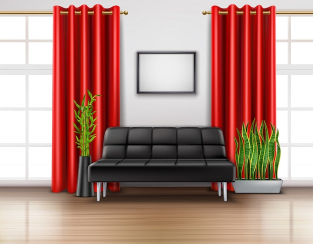 Realistic room interior with luxury red curtains on french windows leather black sofa light floor