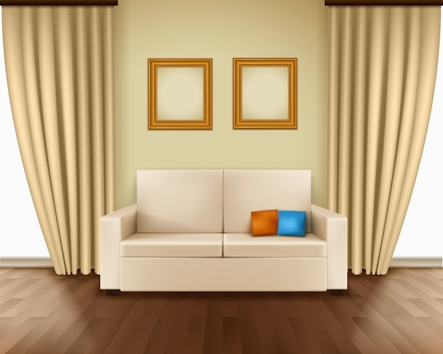 Realistic room interior with luxury window curtain sofa pillows frames
