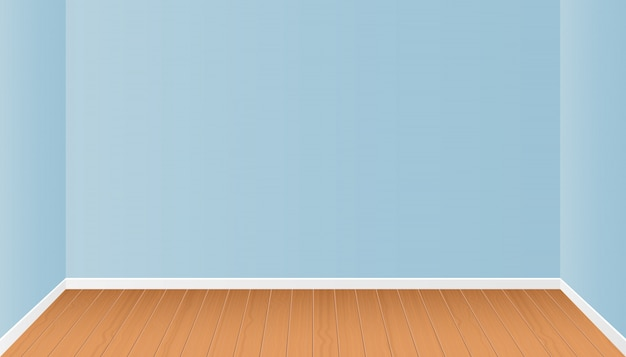 Realistic room interior with wooden floor   illustration