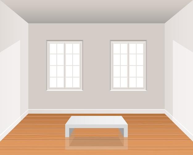 나무 바닥 일러스트와 함께 현실적인 방 인테리어