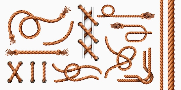 Realistic rope elements. curved sailor jute ropes with loops and knots, hemp cord brushes and thread with tassel. rope in holes vector set
