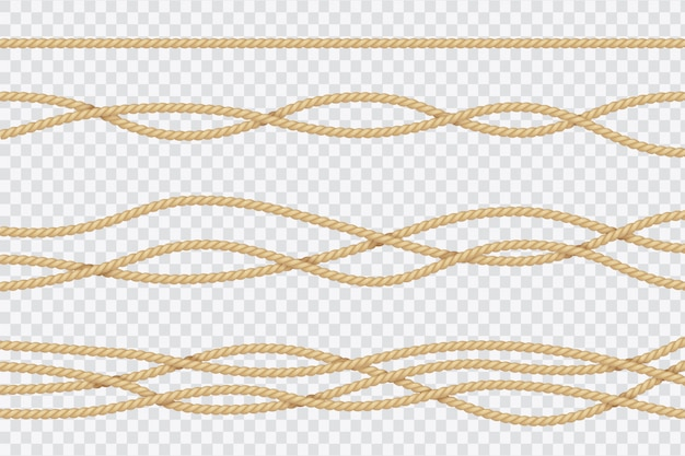 Realistic rope set. nautical textured cords. close up sailors strings vector 3d isolated collection