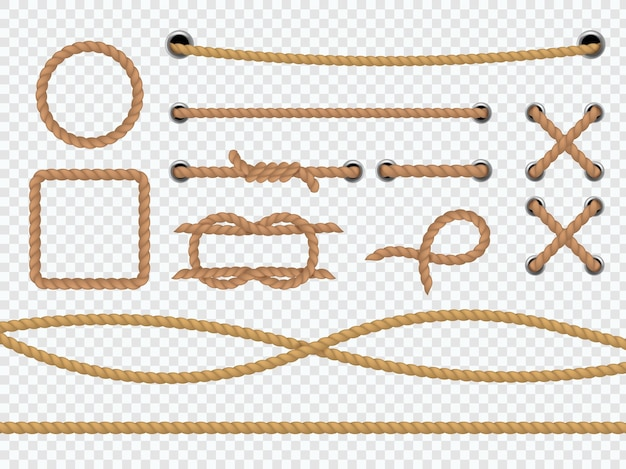 リアルなロープ。マリンラウンドとスクエアコードの境界線、ネクタイ、ループと結び目、茶色のジュートまたは麻のコード、透明な背景に分離された装飾的なベクトル3dフレームをまっすぐにカーブさせます