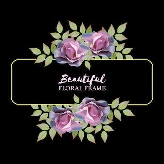 Realistic rose floral frame