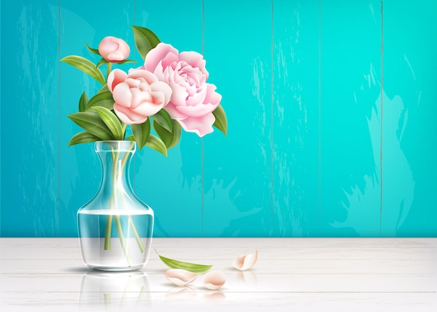 Realistic rose flower bouquet in transparent vase with petals at table on green wooden wall background.