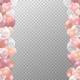 Realistic rose gold balloons frame