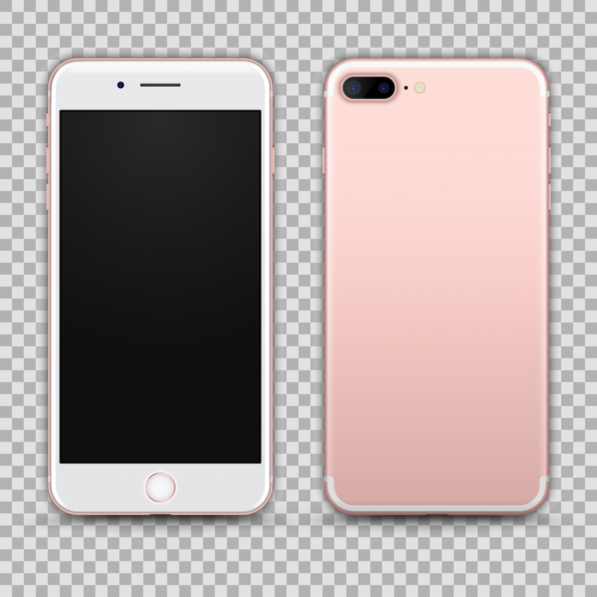 Realistic Rosegold Smartphone isolated on Transparent Background. Front and Back View