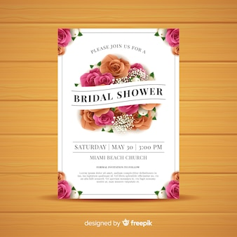 Realistic roses bridal shower card template