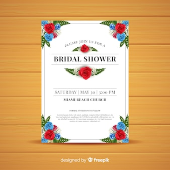 Realistic roses corners bridal shower card template