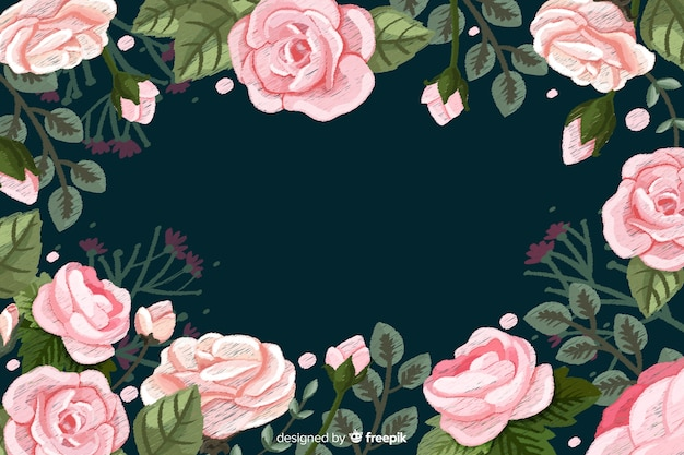 Realistic roses floral embroidery background