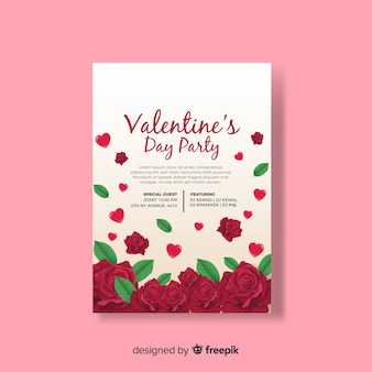 Realistic roses valentine party poster template