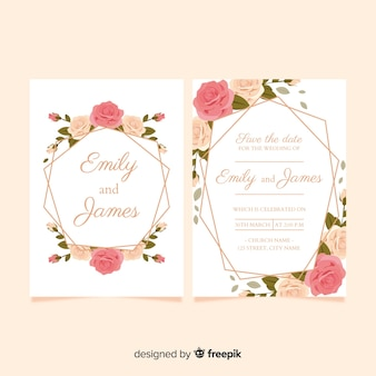 Realistic roses wedding invitation template