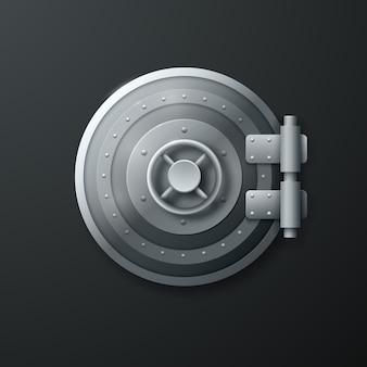リアルな丸型3dメタルセーフドア。ベクトルイラスト。