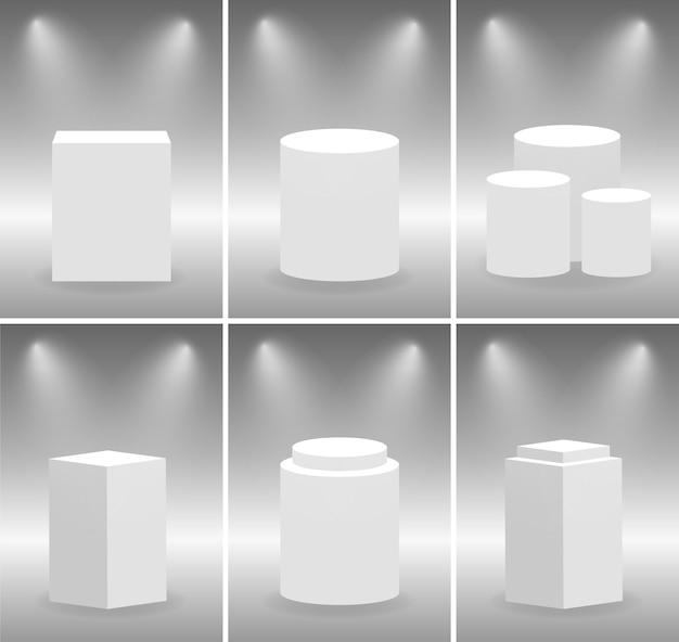 Реалистичные круглые и квадратные выставочные подиумы. музейная сцена и постамент с подсветкой.