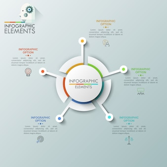 Realistic round diagram consisted of five sectoral parts connected with linear symbols and text boxes. futuristic element for website interface, concept of navigation tool.
