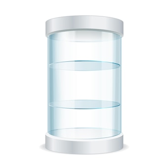 Realistic round empty glass showcase for exhibit with shelves. vector illustration