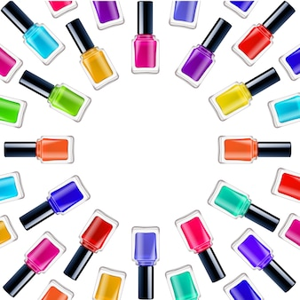 Realistic round frame with colorful nail polishes in closed containers on white background