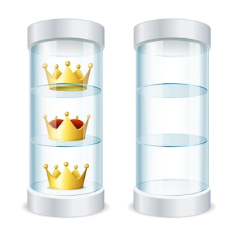 Realistic round glass showcase with shelves empty and and gold crowns for your design. vector illustration