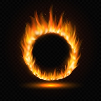 Realistic round light fire flame frame template on transparent background