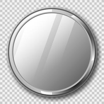 透明な背景に金属フレームを備えたリアルなラウンドミラー