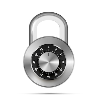 Realistic round padlock with code numbers isolated on white