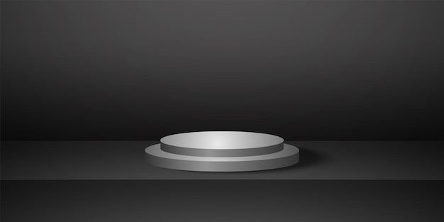 Realistic round podium with black empty studio roomproduct background template mock up for display