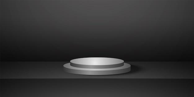 黒の空のスタジオルーム製品の背景テンプレートが表示用にモックアップされたリアルなラウンド表彰台