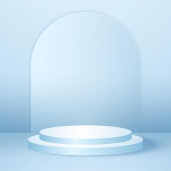 青い空のスタジオルーム製品の背景テンプレートが表示用にモックアップされたリアルなラウンド表彰台