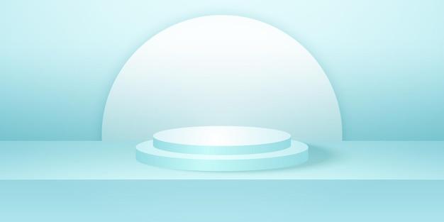 シアンの空のスタジオルーム製品の背景テンプレートが表示用にモックアップされたリアルなラウンド表彰台