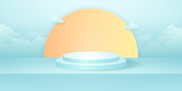 Realistic round podium with cyan empty studio room sun and cloud in the sky background