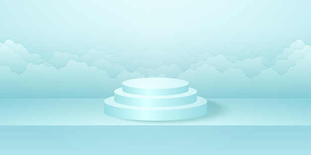 Realistic round podium with cyan studio room product cloudscape background mock up for display