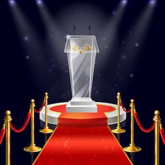 Realistic round podium with glass tribune for public speaking, red velvet carpet
