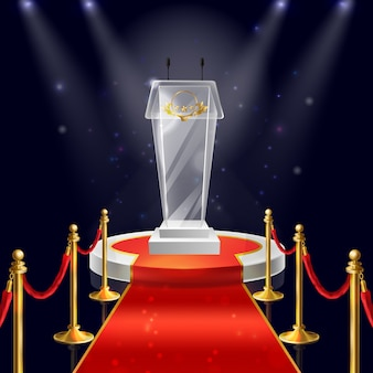 Realistic round podium with glass tribune for public speaking, red velvet carpet